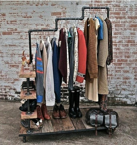 Loft Pipe Clothes Rack - [home-sweet-abode] home decor, decor, furniture, area rugs, rugs, macrame, indoor plants, house plants, curtains