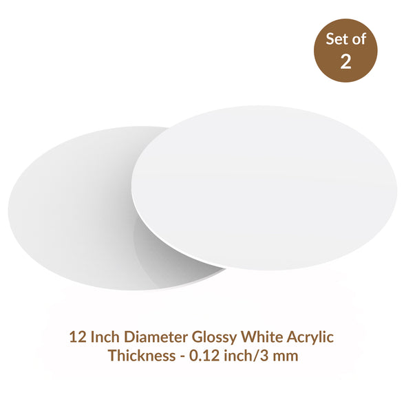 "White Glossy Acrylic Round Disk Set of 2-1/8 or 0.12"" thick for Cake Serving and Reusable Cake Board"