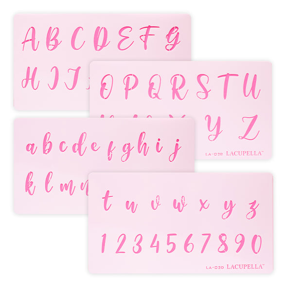 Lacupella Calligraphy Alphabet Letter Number Cake Acrylic Stencil 1.5 Inch Set of Four