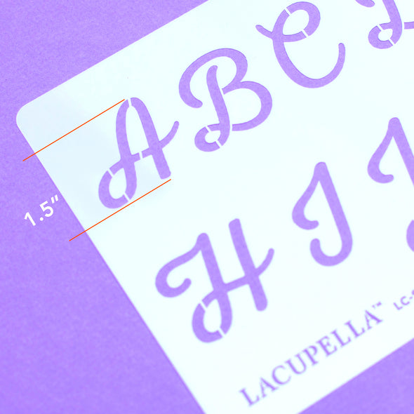Lacupella Script Crafts Alphabet Letter Number Cake Acrylic Stencil 1.5 Inch Set of Four