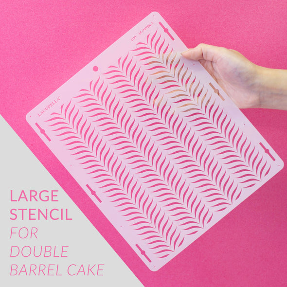 Lacupella Cake Stencil - LIVI - Seamless Delicate Pattern For Tall Double Barrel Cake