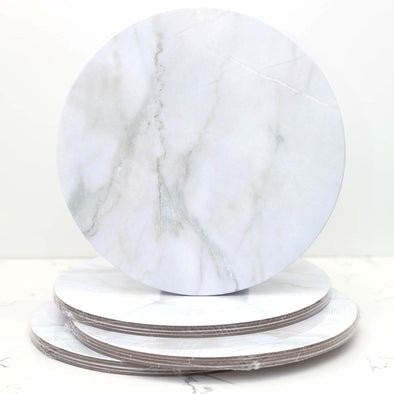 Lacupella Cake Base Board 10 inch Pack of 4 - White Marble - Food Grade Circles For Cake Presentation