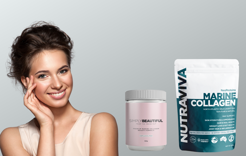 Nutraviva pure premium marine collagen products with lady holding side of face youthful