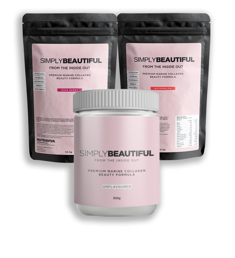Simply Beautiful:  unflavoured 300g + Watermelon 52.5g + Rose Berries 52.5g