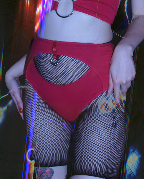 LET GO HIGH WAIST BACKLESS BRIEFS IN RED