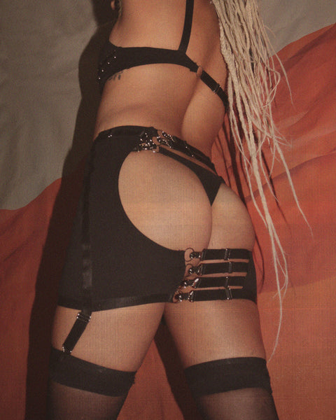 Underneath It All Backless Mini Skirt With Thong In Black