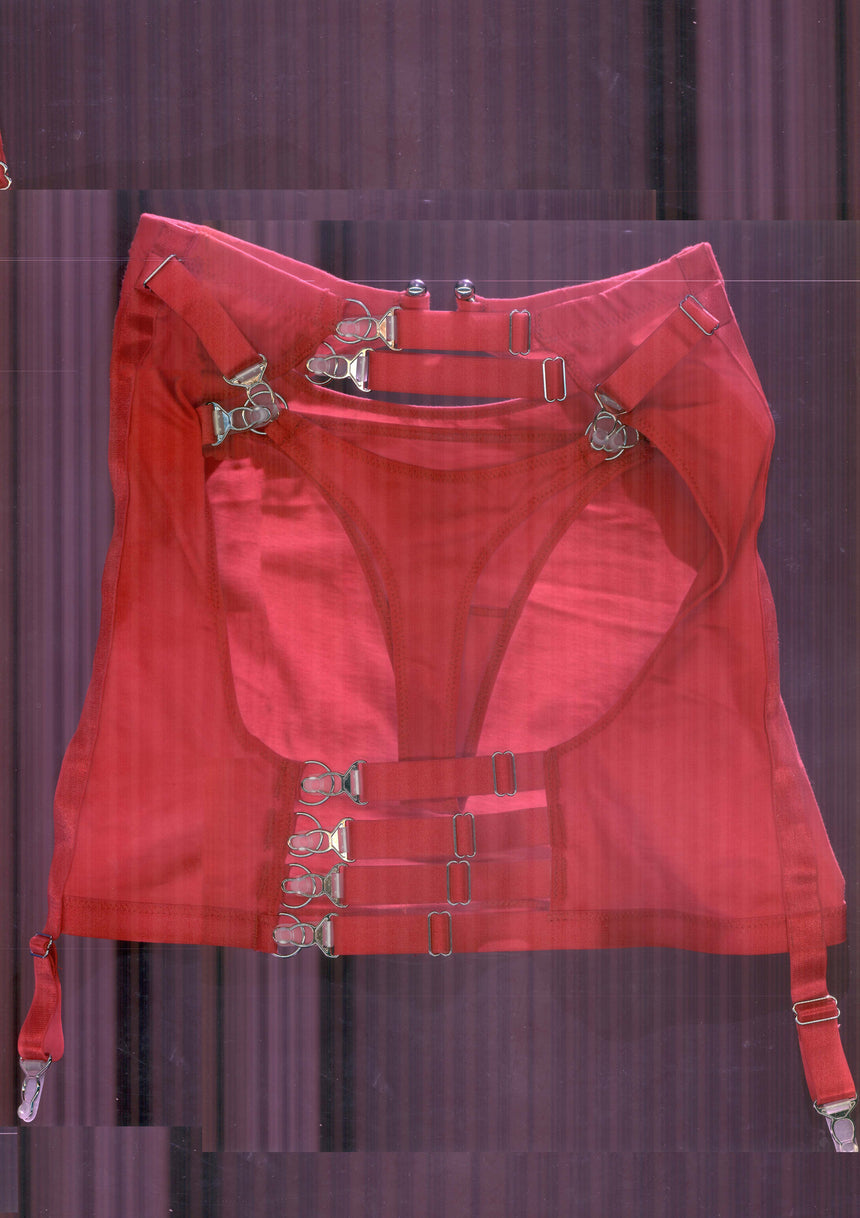 Underneath It All Backless Mini Skirt With Thong In Red