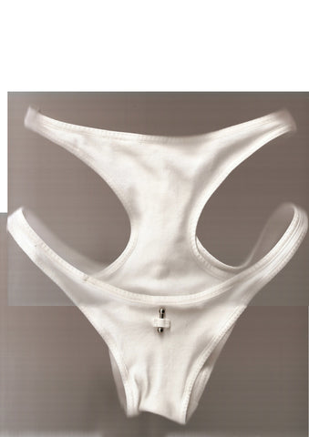 Vertical Hood High Waist Brief In White