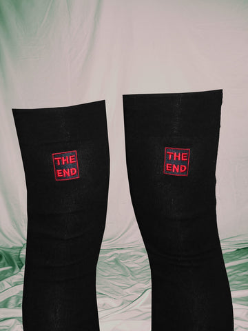 The End Thigh High Socks With Red Embroidery