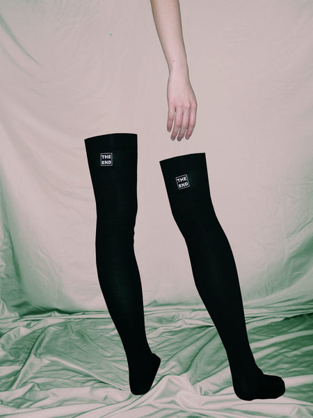 The End Thigh High Socks With White Embroidery