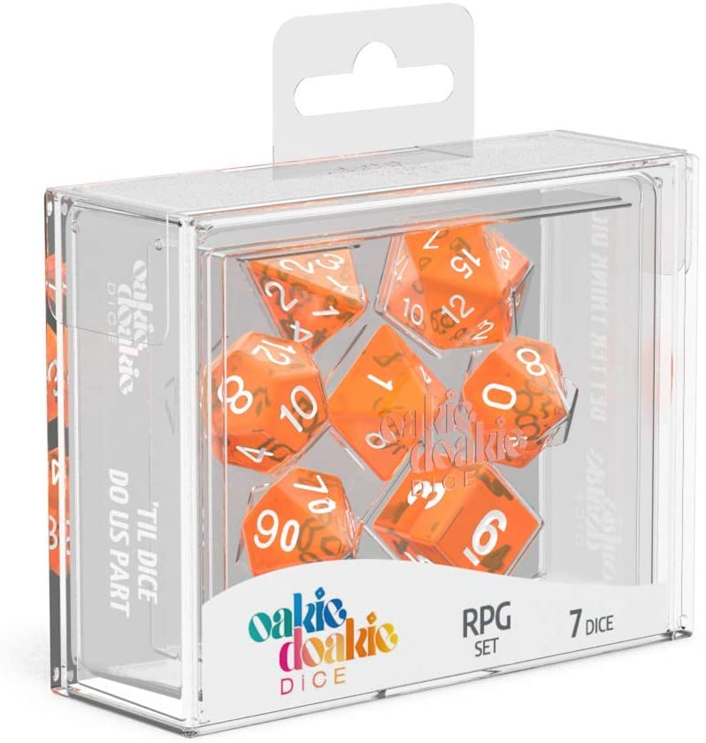 Oakie Doakie Dice RPG 7 Dice Set - Marble Orange | Ettin Games