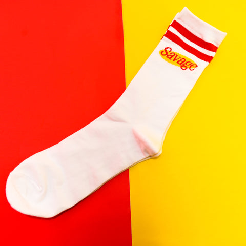 White Savage Crew Sock