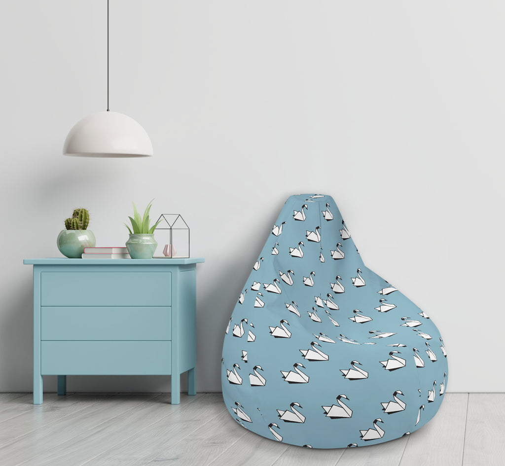 Blue Swan print Bean bag (includes filling)