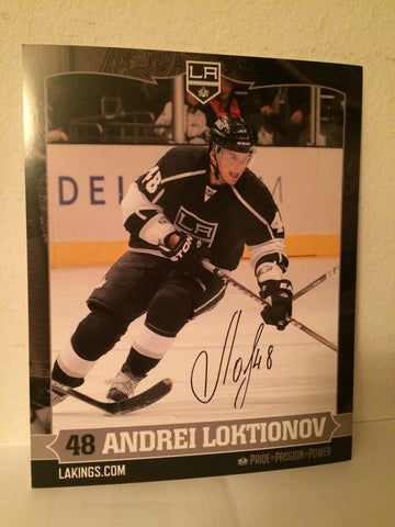 Andrei Loktionov Autographed  8 x 10 Player Card
