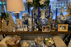 Blue and White Table Close