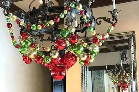 Entryway Holiday Green and Red Chandelier