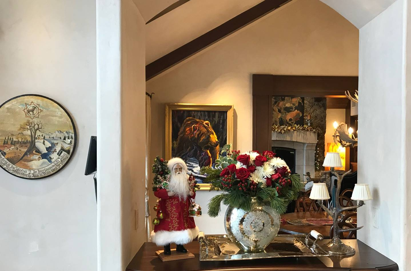 Kitchen Arch Holiday Flowers and Santa