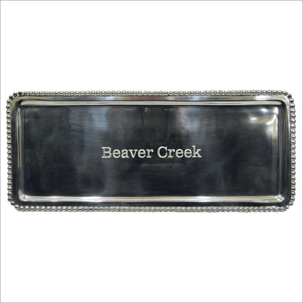 Beaver Creek Engraved Silver Tray