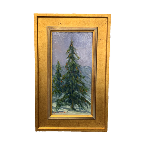 Blue Spruce on the Mountainside Original Painting