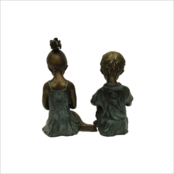 Bronze Girl & Boy Bookends