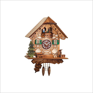Mini Cuckoo Clock with Dog and Bench