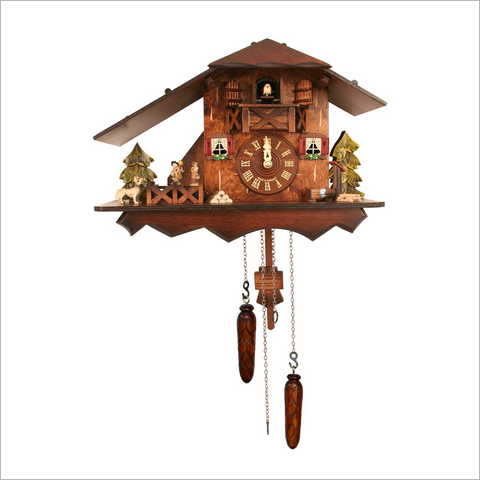 Cuckoo Clock with Side Dancers and Red Shutters