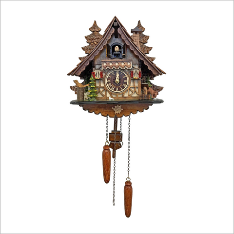 Cuckoo Clock with Carved Trees