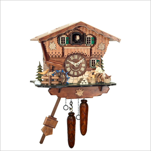 Cuckoo Clock with Wood Chopper and Edelweiss Flowers