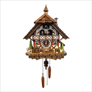 Cuckoo Clock with Wood Chopper and Red Shutters