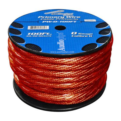 POWER WIRE 0GA. 100' RED AUDIOPIPE