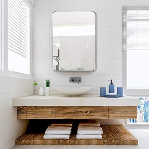 5cm Thick, Bathroom Mirror, with Stainless Steel Metal Frame Rounded Corner, Rectangle Mirror, Wall Mirror for Bathroom