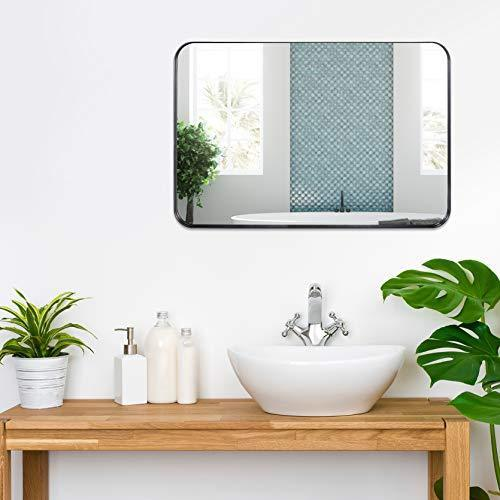 3cm Thick Frame, Bathroom Mirror, with Stainless Steel Metal Frame Rounded Corner, Rectangle Mirror, Wall Mirror for Bathroom
