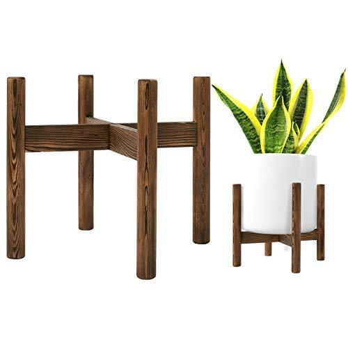 Pine Wood Plant Stand Mid Century Wood Flower Pot Holder (Plant Pot NOT Included) Potted Stand Indoor Display Rack Rustic Decor
