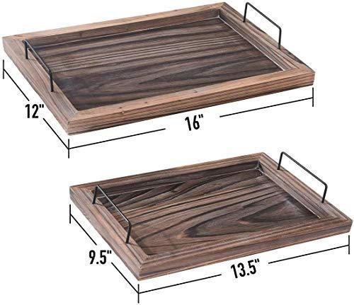 RHF Serving Trays,Vintage Serving Tray,Rustic Wood Trays,Rectangular Tray Set,Nesting Serving Tray,Butler Lap Trays with Metal Handles,Rustic Ottoman Tray, Set of 2