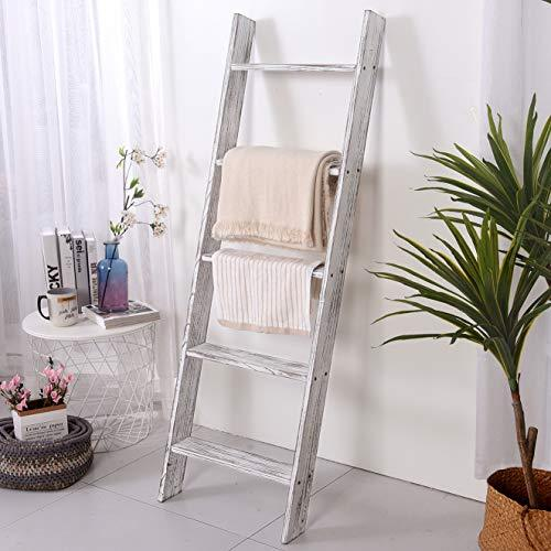 "54"" Extra Thick Blanket Ladder,Rustic Wood Ladder, Decorative Heave Duty Ladder for Blanket, Farmhouse Blanket Ladder, Storage Ladder Shelf, Assembly Required, 4.5-Feet, Two Colors for Selecting"