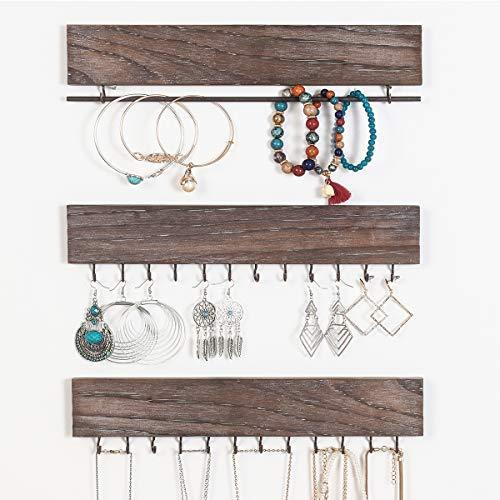 RHF Jewelry Organizer Wall Mounted Set of 3, Wood Hanging Jewelry Organizers, Necklace Holder,Bracelets Hook Rings Racks,Earring Bar, Rustic Wood & Metal Organizer, 12 Inch 26 hooks