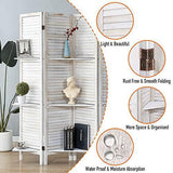 RHF Panel 5.6 Ft Tall Partition Wood Room Divider, Wood Folding Room Divider Screens, Panel Divider&Room Dividers, Room Dividers and Folding Privacy Screens with Shelves