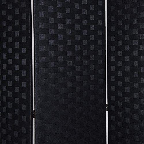 RHF 6 ft.Tall Room Dividers,Double Side Woven Fiber Room Divider,Better Privacy Screen,Folding Partition & Wall Divider,Space Seperate Indoor Decorative Panel Screen,Freestanding -Black,