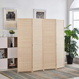 6 ft.Tall Bamboo Room Dividers, Panel Room Divider/Screen, Folding Privacy Screen Room Divider, Decorative SeparationWall Divider,Room Partitions/Separator/Dividers,Freestanding,Bamboo