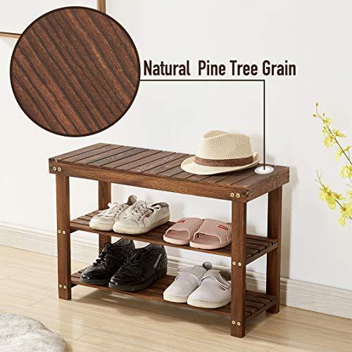 Shoe Bench, Solid Pine Wood Shoe Rack Bench, Holds Up to 300 Lbs, Shoe Rack Entryway, Shoe Organizer, 3 Tier, Rustic Grain