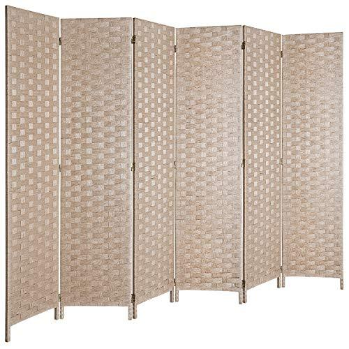 "6 ft.Tall 16"" Wide Room Dividers,Double Side Woven Fiber Divider,Better Privacy Screen,Folding Partition & Wall Divider,Space Seperate Indoor  Panel Screen,Freestanding- 4 Panel, 6 Panel and 8 Panels, Multi Colors Available"