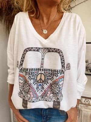 Casual Plus Size Printed Long Sleeve Tee Shirts Tops