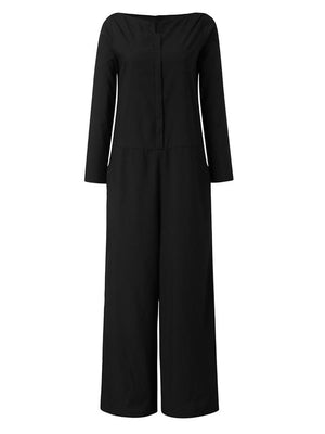 Women Stylish Boat Neck Long Sleeve Pockets Jumpsuits
