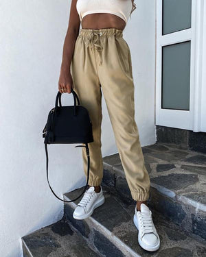 Eyelet Drawstring High Waist Pocket Design Pants