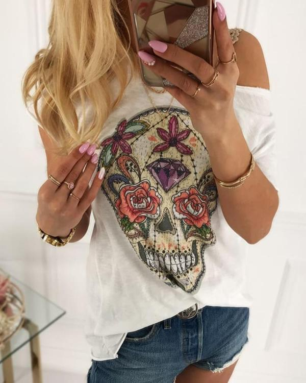 Skull Print Short Sleeve Casual T-shirt