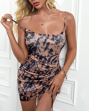 Floral Print Ruched Cami Dress