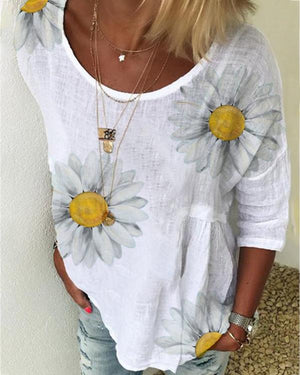 Daisy Print Short Sleeve Casual T-shirt