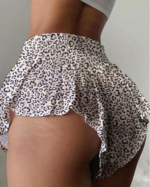 Cheetah Print Shirring Design High Waist Shorts