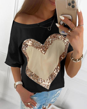 Heart Sequins Round Neck T-shirt
