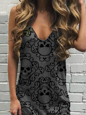 V Neck Skull Sleeveless Casual Dresses